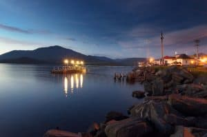 A local city dock on the rocky Prince Rupert waterfront at dusk.